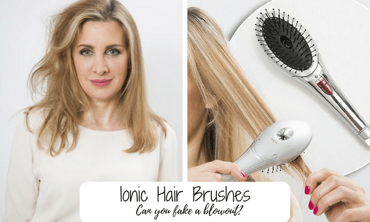 woman using an ionic hair brush