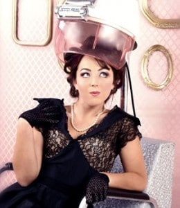 Styling with salon hooded hair dryer