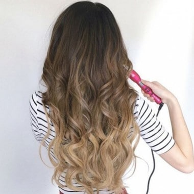 Hot Curling Iron Brush on long hair
